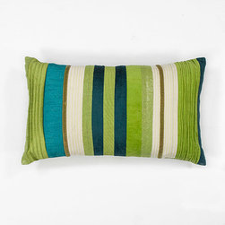 KAS Oriental Rugs - Teal Green and Blue Stripes 12 x 20-Inch Rectangular Decorative Pillow - - Handmade of 100% Polyester  - Fill Material: Polyester Fiber  - Spot clean only with mild detergent and water. Test a small area first. KAS Oriental Rugs - PILL16912X20