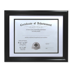 Lawrence Frames - Dual Use Black 11x14 Certificate Picture Frame - Classic black document frame.  High quality black composite frame is perfect for any document, certificate, sports photo, award, or special picture.  Comes with black backing suitable for wall mounting only.  Hanging hardware already installed for vertical or horizontal wall display. with Double Bevel Cut Matting for 8.5x11 Document