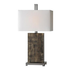 Ren-Wil - Lamp - The Malvolia lamp is made from glass and is painted on reverse and is finished with an off white linen shade and matching finial.