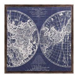 iMax Corporation - Harrington Framed Blue Map - Find home furnishings, decor, and accessories from Posh Urban Furnishings. Beautiful, stylish furniture and decor that will brighten your home instantly. Shop modern, traditional, vintage, and world designs.