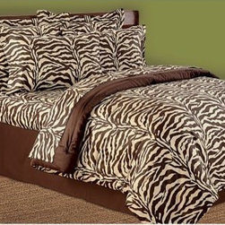 Scent-Sation Wild Life Animal Print Sheet Set - Easily add a touch of exotic drama to your bedroom decor with the wildly luxurious Scent-Sation Wild Life Animal Print Sheet Set. Crafted of finely woven, 200-thread cotton sateen, this bedding set includes a flat sheet, fitted sheet (with oversized pockets and easy-fit tunnel elastic), and one or two pillowcases (depending on the size you choose). Machine-washable, this set is available in leopard, brown zebra, or black and white zebra print.About Scent-Sation, Inc.Founded in 1950, Scent-Sation has continually remained focused on manufacturing the finest bedding, sheets, and hangers available. The company took its name from the very first product they manufactured: scented hangers. From there, the company moved on to bedding and sheets, though it didn't leave the aromatic satin hangers behind. Whether you're looking for traditional or contemporary bedding, Scent-Sation has a high-quality option for you, crafted with care and attention to detail.