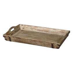 Uttermost - Uttermost Abila Wooden Tray 19725 - Heavily Distressed, Antiqued Cream Finish With Natural Fir Wood Undertones And Antiqued Bronze Accents. Cutout Handles For Ease Of Carrying.