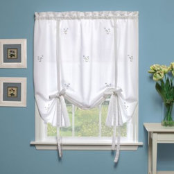 H.c. International Inc. - Forget-Me-Not Tie-Up Shade in White/Blue - These fine, floral-embroidered window tiers naturally invoke warm memories of the past. Simple in design, this classic look will fit gracefully into any room.