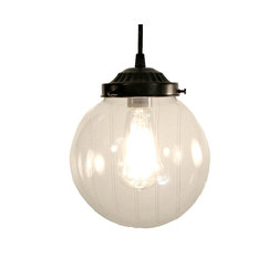 BIDDEFORD. PENDANT LIGHT LARGE CLEAR GLOBE, Antique Black - Beautiful clear-blown glass, highlighting the Edison squirrel cage bulb. The light is soft enough for your eyes, yet illuminates the space nicely, perfect for a bath or kitchen.