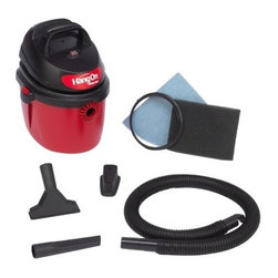 "Shop Vac - Shop-Vac 5890200 2.5-Gallon  2.5-Peak Hp Hangon Wet/Dry Vacuum - Lightweight and portable. Use for quick wet and dry pick up jobs in the home, garage, workshop or vehicles. Wall mountable, hand held design and extra quiet. Wall bracket for easy compact storage, built-in tool holder and hose holder keeps tools organized  . 6' cord length. 4' x 1-1/4"" lock-on hose, gulper nozzle, crevice tool, wall bracket, reusable disc filter with mounting ring and foam sleeve included. 120-Volt,  60 HZ, and 8 Amps.        This item cannot be shipped to APO/FPO addresses.  Please accept our apologies"