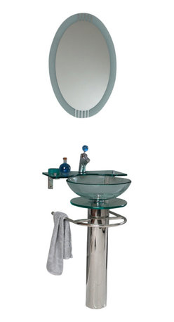 Fresca - Fresca Ovale Modern Glass Bathroom Vanity w/ Glass Shelf - This simply constructed jewel tone chrome stand and gently sloping tall clear glass basin are ideal for simple living with a touch of class and modern charm. Versatile for any decor. Quietly interesting and chic without being disruptive, a great vanity for those with a single bathroom requiring little fuss.
