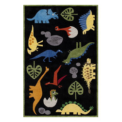 Momeni - Kids Lil Mo Whimsy 8'x10' Rectangle Black Area Rug - The Lil Mo Whimsy area rug Collection offers an affordable assortment of Kids stylings. Lil Mo Whimsy features a blend of natural Black color. Hand Tufted of 100% Mod-Acrylic the Lil Mo Whimsy Collection is an intriguing compliment to any decor.