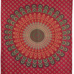 Twin Size Red Indian Floral Mandala Hippie Tapestry Wall Hanging Decor Art -