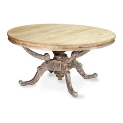 Provence Dining Table - Contrasting hand-rubbed finishes please the lover of texture in the Provence Dining Table, which has a round surface of warm natural elm with a darker, distressed hue on the magnificently-carved spider legs beneath. A celebration of classic forms and of the versatility and tradition of real wood, this beautifully-crafted round dining room table is an undoubted artwork.