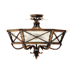 Fine Art Lamps - Newport Semi-Flush Mount, 562240ST - Mount this stately fixture, inspired by New England's mansions mainstay, to add formal elegance to your favorite setting. It features distressed mirror panels, leaf motif details and a rustic burnished gold finish with silver highlights.