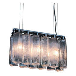 Trend Lighting - Park Avenue 3-Light Chandelier - This gorgeous chandelier takes center stage in your dining room. The light dances around as it reflects from the seeded shaker glass blocks, while the simple lines add an artful touch to your space.