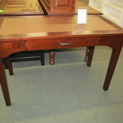 Angela Writing Desk with Leather Top - Cherry with Rich Cherry stain, Bomber Brown Leather