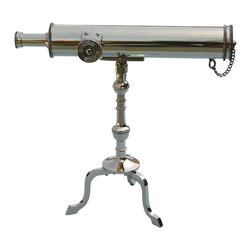 "10"" Polished Brass Victorian Desk Telescope - The solid brass 10"" Brass Victorian Desk Telescope is the perfect addition to any desk, credenza, home office, or library.  This classic style telescope is modeled after 18th Century and early Victorian designs and is offered in polished brass.  The telescope features a solid brass lens cap that is secured to the telescope by a small chain.  The mount assembly allows the telescope a wide range of elevation and declination adjustment and a locking nut allows the viewer to stabilize the telescope in a suitable position.  The 8-power 10-inch Brass Victorian Desk Telescope produces a crisp non-inverted (upright) image.  The precision rack and pinion focuser is adjusted using the large knurled side knob.  A decorative screw rod adjustment is located on the side of the main tube.  When fully extended the telescope is 10"" long and 9.5"" tall.  The diameter of the telescope is 1 11/16"" and the objective lens is 25 mm in diameter.  It weighs 1 pound 14 ounces."