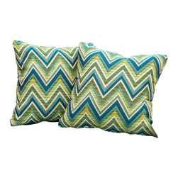 """Best Selling Home Decor - Fischer Lagoon Green 17"""" Sunbrella Pillow (Set of 2) - Accessorize your home with these colorful Summit Furnishings Home Sunbrella pillows. Upholstered in soft fabric, these colorful chic accent pillows are a great option to add flare and comfort to your home. Use them indoors or to accessorize your outdoor seating set. Includes: Two (2) sunbrella pillows; Material: Fabric; Color: Multi-colored, striped; Spot cleaning; Great accent pillow; Dimensions: 17 inches high x 17 inches wide x 4 inches deep."""