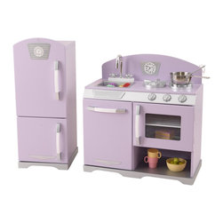 KidKraft - Purple Retro Kitchen And Refrigerator by Kidkraft - With our Lavender Retro Kitchen and Refrigerator, kids can cook up feasts for the whole family. The young chefs in your life are sure to love this wooden kitchen and refrigerator's sweet colors and adorable details.