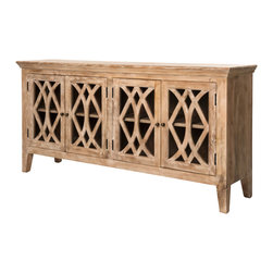 Marco Polo Imports - Clermont Sideboard - This elegant, old-world 4-door sideboard is hand-crafted from eco-friendly Mango wood. Featuring glass fronts and brass pulls. The beautiful woodwork overlay on the cabinetry gives each piece a refined sophistication.
