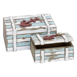 Benzara - Wood Box - Set of 2 10in., 7in.W Nautical Maritime Decor - *Size: Large: 10 Wide x6 High x 5 Depth
