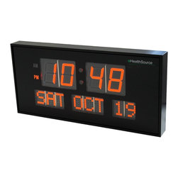 Metro Fulfillment House - eHealthSource Big Oversized Digital Red LED Calendar Clock with Day and Date - S - Easy to read in bright sunlight as in darkness, comes with 3 levels of brightness Convenient and effective for the visually impaired, shows clearly the time and date no need to convert numbers to day and month AM / PM status with a light underneath the letters, no need to guess what the dot stands for No need to be reset if it loses power. Powered by AC adapter (included)