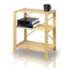 Furinno - Furinno FNCJ-33013 Pine Solid Wood Shelf - Furinno Pine Home Living Storage and Organization Series: Solid Pine Wood Shelf . (1) Unique Structure: Open display rack, shelves provide easy storage and display for decorative and home living accessories. Suitable for rooms needing vertical storage area. (2) Easy Assembly: with reference to the assembly instruction, this unit can be assembled in as short as 30 minutes. Designed to meet the demand of low cost but durable and efficient furniture. (3) Made from 100-Percent imported pine wood with high durability and without harsh chemicals. Thus there is no foul smell. Closer to healthy living and nature. A simple attitude towards lifestyle is reflected directly on the design of Furinno Furniture, creating a trend of simply nature. All the products are produced 100-percent in China. Care instructions: wipe clean with clean damp cloth. Avoid using harsh chemicals. Pictures are for illustration purpose. All decor items are not included in this offer.