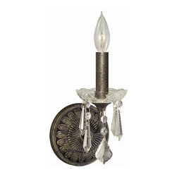 World Imports - 1 Light Wall Sconce w Crystals in Flemish Fin - Manufacturer SKU: WI848106. Bulbs not included Collection. 1 Light. Power: 60w. Type of bulb: Candelabra. Flemish finish. 6.25 in. Ext.. 5 in. W x 9.25 in. H (3 lbs.)