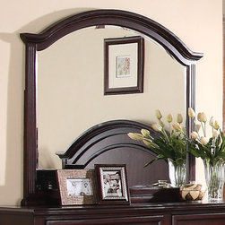 Coaster - Emily Mirror in Deep Brown Cherry Finish - The bevelled mirror framed in deep brown cherry features an arc shape like the headboard. Enjoy the calming look of this piece while you relax in bed with a morning cup of coffee.