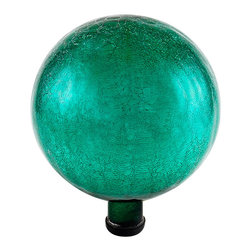 Achla - 10 in.  Gazing Globe, Emerald Green, Crackle - Named  in. Spheres of Light in.  by Antonio Neri in 1612, they are most commonly known to fend off misfortune and deliver happiness and joy. The first gazing globes date back to 13th century Venice. Add color, charm, and good luck with the crackle gazing globes of Achla Designs.. Crackle Emerald Green Finish. 10 in.  Globe. Hand-blown Glass. Sealed at the bottom for longevity. 10 in. D x 10 in. W x 12 in. H