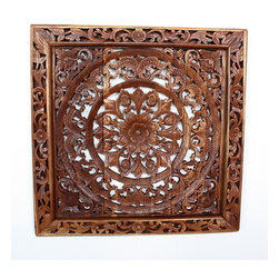 Kammika - Lotus Panel Reclaimed Teak Inlay Square Framed 90 cm Eco Friendly Light Teak Oil - Approximately 35 inches square, our Lotus Panel Reclaimed Recycled Teak Inlay Square 90 centimeter Height with Eco Friendly Livos Light Teak Oil Finish Wall Panel is a detailed carving of our Lotus theme. Several recycled rough-hewn teak planks from old dwellings and community buildings are joined together and then carved as a single unit. Each is carved out of reclaimed old Teak wood selected to match as close as possible in thickness and colorations. Variations in wood color are evident, although the carvers strive to make as close a match as possible. Still the colors will vary naturally just like the trees from which the wood came many years before. We sand the carved surfaces to create brown highlights, and then Livos Light Teak Oil is applied. Our wall panels are expressions of beauty that could become the centerpieces of any room they grace. All are hand carved by craftspeople in Thailand, who spend hours shaping, sanding, and finishing these wonders of wood. The talent behind these creations is readily visible. They are works of art that are sure to be treasured for generations to come. Because each piece is a unique creation, some variations may occur, but one thing will remain consistent - the beauty of each panel, and the joy it will bring to you. All products are dried in solar kilns and or propane kilns. No chemicals are used in the process, ever. Each piece is kiln dried, sanded, rubbed with Livos Light Teak Oil; and then packaged with cartons from recycled cardboard with no plastic or other fillers. As this is a natural product, the color and grain of your panel will be unique, and may include small checks or cracks that occur when the wood is dried. Sizes are approximate. Products could have visible marks from tools used, patches from small repairs, knot holes, natural inclusions, and/or worm holes. There may be various separations or cracks on your piece whe