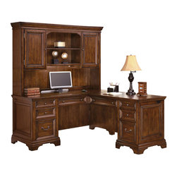 Wynwood - Wynwood Woodlands L Desk and Hutch Unit in Heritage Cherry - Whether placed in a corner or centered in your room, this Woodlands L Desk and Hutch Unit byWynwood Furnitures is sure to become a standout piece in your office. Composed of a left pedestal desk and right pedestal return, youll have all the space you need to accommodate your office needs. Both the desk and return have a cable accessible center drawer with thumb latch drop-front and pencil tray. Each pedestal also features a utility drawer with a pencil tray, a utility drawer with removable dividers and a file drawer equipped with filing hardware to accommodate letter or legal sized hanging files. The kneespace locks in each pedestal helping to secure the pedestals bottom two drawers while cable grommets in each pedestal end keep pesky wires and cords organized and out of the way. In addition to function, the Heritage Cherry finish, bracket feet, traditional hardware and recessed panel detailing provide for a classic, well-polished look. Finishing the piece is an elegant hutch with two cabinets that each with an adjustable shelf. Centered in the middle is a fixed and adjustable shelf with task lighting and cable accessibility.