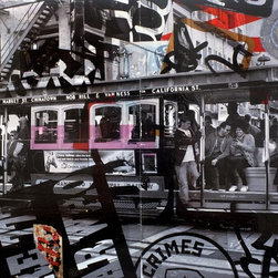 Slice Of The City, Original, Mixed Media - It's all about the details in this mixed media piece. A photo of passengers on San Francisco's iconic cable car is  combined with a photo of neighborhood graffiti to create a real slice the city life. Original artist photos, paper and acrylic paint on board mounted on recessed back frame and is ready to hang.
