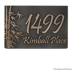 "Bamboo Address Plaque 16"" x 10.5"" in Bronze Patina - The Bamboo Address Plaque is a great choice for nature enthusiasts. The bamboo tree is perhaps the world's most recognizable and versatile tree; and not just because its the panda bear's favorite snack. Bamboo has been made into medicine, houses, furniture, paper, food, musical instruments, and transportation (among many others). Does the pine in your back yard boast that type of resume? Probably not. But that's alright because the Bamboo Address Plaque brings the forests of Asia to your home"