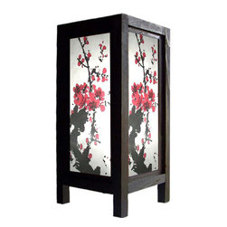 "Oriental-Décor - 11"" Quiet Sakura Lamp - Black and red, when joined together to form an image, will always create a bold statement. If you want this statement to grace your private space, you can do so by getting this 11"" Quiet Sakura Lamp. Made from wood and paper, topped off with a dainty Sakura picture and jet black finish, this decorative lamp is a beautiful Oriental-themed piece that you can use as the main centerpiece of your space. Watch as your bland and boring corner, desktop, or table gets a renewed sense of vigor. The combination of the colors and material along with the blossoms is both sultry and powerful. Not too feminine and not too formal, its versatility makes it a good choice for those who need a great art piece for home and the office. Use it to grace romantic outdoor dinners, quiet tea time with loved ones, or even as a night light in your own bedroom. Due to its size and lightness, you will find it easy to move around. Crafted lovingly using pressed pulp paper, it also comes with a 110-volt electrical cord and a light bulb."
