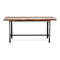 Industrial Steel & Wood Table - Reclaimed one-of-a-kind vintage industrial table base with a beautiful wood top. Great for use as a desk, dining table (seats up to 6), or in a retail environment.