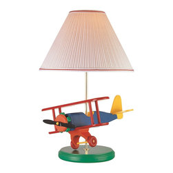 Lite Source - Lite Source Airplane Kids Table Lamp X-70102PA3 - An excellent choice for nurseries, children's rooms or playrooms ensures your little one will treasure this Lite Source kids lamp for years to come. From the Airplane Collection, this kids table lamp features bold primary coloring to compliment the airplane accent on the base. A white pleated fabric shade with coordinating red trim completes the look.
