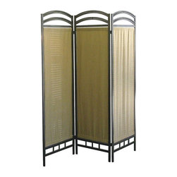 Ore International - Pewter Frame 3 Panel Room Divider - 50W x 70H in. Multicolor - R860 - Shop for Room Dividers from Hayneedle.com! Create a bit of privacy or define a space in your room with this Pewter 3-Panel Room Divider. The frame of this room divider is crafted of simple elegant metal with a powder-coated pewter finish that beautifully matches classic or modern decor. Each of the three panels features a natural fiber cloth and the whole thing folds flat for easy storage. About Ore International Inc.Ore International Inc. creates beautiful accent furniture lighting and gifts for the home. Their goal is to be the leading provider of innovative superior home products worldwide. Ore International is based in Santa Fe Springs California and has a Customer First attitude. Their products are designed to match modern and classic tastes and fit today's homes. From room dividers to lamps end tables to entertainment centers you'll discover quality craftsmanship at a fair price in all Ore International products.