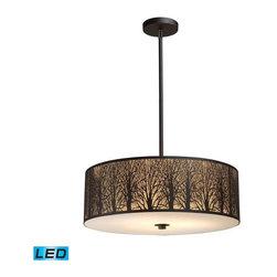 Elk Lighting - Elk Lighting 31075/5-LED Woodland Sunrise Transitional Drum Pendant Light - Elk Lighting 31075/5-LED Woodland Sunrise Transitional Drum Pendant Light in Aged Bronze