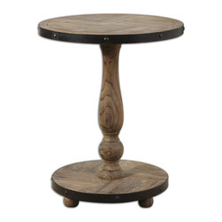 Uttermost - Kumberlin Wooden Round Table - Mother Nature shows off some wood grain wizardry! Warmly weathered and wrapped in black metal, this handsome two-tier Fir wooden side table brings an industrial-chic edge to your favorite rustic, coastal or cottage style setting.