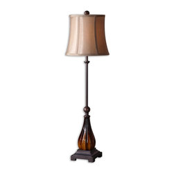 Uttermost - Uttermost David Frisch Table Lamp in Mahogany Red - Shown in picture: Ribbed Ceramic Base Finished In A Mahogany Red Glaze And Dark Bronze Details. Ribbed ceramic base finished in a mahogany red glaze and dark bronze details. The round semi drum shade is a silken bronze fabric.