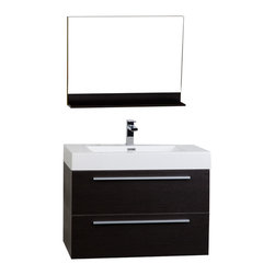 "ConceptBaths - CBI 31.5"" Wall-Mount Contemporary Bathroom Vanity Mirror Set Espresso TN-M800-WG - Transform the look of your bathroom instantly! This contemporary bath vanity features a white resin stone top with a square basin usually only seen in upscale boutique hotels and spas! Paired with an equally impressive large capacity storage cabinet loaded with premium amenities, the vanity offers design and value never before offered or seen in the mass market."