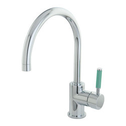 Kingston Brass - FS8231DGL Green Eden Single Handle Vessel Sink Faucet without Pop-up & Plate, Ch - Characteristic of the Green Eden series with its Neoprene accents and sleek tubular lines, this Gooseneck Vessel faucet will be a welcome addition to any bathroom where adding color and a youthfull flair are essential to create the specific decor style you desire, its Gooseneck spout gives you plenty of room and its single handle operation makes it easy to operate at any age, This faucet is also available in Satin Nickel.; High Quality Brass Construction; Fine Artistic Craftsmanship; Green Neoprene handle for a great grip and easy clean-up; Drip-free Ceramic Cartridge System; Matching Accessories Available; Material: Brass; Finish: Chrome; Collection: Green Eden