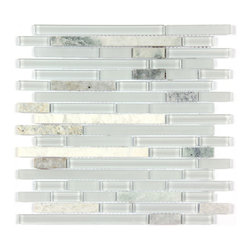 Stone & Co - Marble Mosaic Glass and Stone blend Random Strip 12 x 12 Mosaic Tile Mag-4444-ST - Finish: Polished / Shiny / Matt