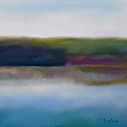 "Teresa Mccue - River's Edge - One of a kind, original work. Pastel on paper, matted and framed to 16"" x 15.5"""