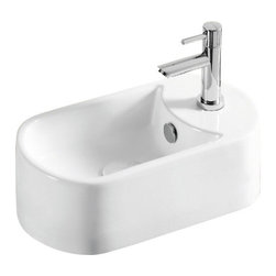 Caracalla - Oval White Ceramic Vessel Bathroom Sink, One Hole - Oval sink for the bathroom or powder room. Vessel sink with overflow and one hole. Made of ceramic with a white glaze finish. Created by Caracalla in Italy.
