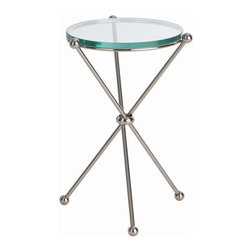 "Arteriors - Arteriors Home - Chloe End Table - 9961 - Arteriors Home - Chloe End Table - 9961 Features: Chloe Collection End Table Clear ColorPolished nickel FinishGlass Top table material Some Assembly Required. Dimensions: 13"" D X 20"" H"