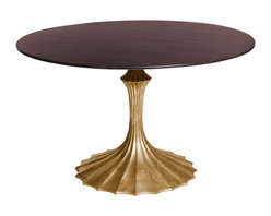 Kathy Kuo Home - Gold Fluted Base Walnut Hollywood Regency Dining Table - Large - While this table packs enough sophistication and glamor to very easily work into a Hollywood Regency look, there are other angles this noteworthy piece could also embrace.  We can see it in a Parisian Art Nouveau apartment or even an eclectic/exotic Art Deco space.  However you use it, style and imagination take flight.