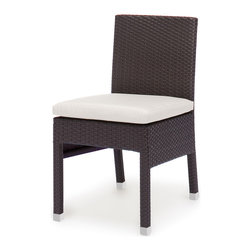 Caluco - Dijon Dining Side Chair - The Dijon Dining Side Chair combines style, durability, and comfort to provide unmatched value in outdoor seating.  Pictured in the CH dark java wicker.