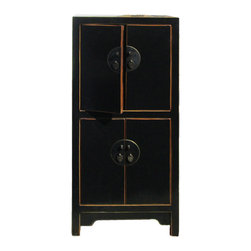 Golden Lotus - Chinese Black Lacquer Narrow Storage Cabinet - This is a simple storage cabinet in two compartment with shelf. The outside is painted with black color paint lacquer. Round moonface shape hardware is used as decoration.