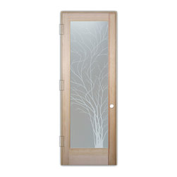 "Sans Soucie Art Glass (door frame material T.M. Cobb) - Interior Glass Door Sans Soucie Art Glass Wispy Tree Private - Sans Soucie Art Glass Interior Door with Sandblast Etched Glass Design. GET THE PRIVACY YOU NEED WITHOUT BLOCKING LIGHT, thru beautiful works of etched glass art by Sans Soucie!  THIS GLASS PROVIDES 100% OBSCURITY.  (Photo is View from OUTside the room.)  Door material will be unfinished, ready for paint or stain.  Satin Nickel Hinges. Available in other wood species, hinge finishes and sizes!  As book door or prehung, or even glass only!  1/8"" thick Tempered Safety Glass.  Cleaning is the same as regular clear glass. Use glass cleaner and a soft cloth."