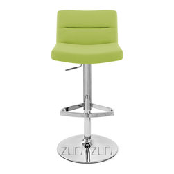 "Zuri Furniture - Lime Green Lattice Swivel Armless Bar Stool - The Lattice bar stool is a contemporary masterpiece. The one piece seat is superbly well padded with high density foam for high levels of comfort and is covered in soft faux leather. The seat is wide and accommodating and has an incorporated medium height backrest for extra support, making it a very relaxing place to sit. The plush seat is segmented at regular intervals by stitched grooves, resulting in a stunning effect with immense visual impact, making it an eye-catching item of furniture that will always garner interest from visiting friends or guests. A hand crafted footrest, fashioned from tubular steel and plated in chrome sits on a chrome stem, enhancing the overall look of this bar stool and giving an ideal location to place your feet. The Lattice is perfect use around the home, in a kitchen bar or breakfast bar, the Lattice is as functional as it is stylish with an adjustable height gas lift and 360 degree swivel mechanism. A large circular base gives the Lattice bar Stool excellent stability and has a rubber ring beneath to protect your floor. The Lattice bar stool seat height adjusts from 22""-32"" and the back height adjusts from 30""-40"" Please Note: The Lush is a similar stool in a brushed steel finish with a higher back."