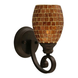 Toltec Lighting - Curl 1 Light Wall Sconce in Bronze with 5 in. Mosaic Glass - Shade: 5 in. Mosaic Glass