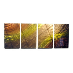 Miles Shay - Metal Art Wall Art Decor Abstract Contemporary Modern Sculpture Hanging- 2 Suns - This Abstract Metal Wall Art & Sculpture captures the interplay of the highlights and shadows and creates a new three dimensional sense of movement as your view it from different angles.